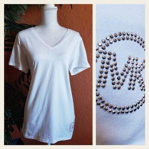 3/$25 Michael Kors White Bling Logo V Neck Tee XL